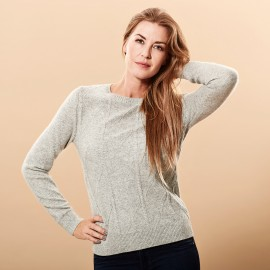 Cashmere sweater grå meleret