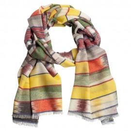Ikat vævet cashmere tørklæde i klare farver