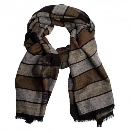 Ikat vævet cashmere tørklæde i grå farver