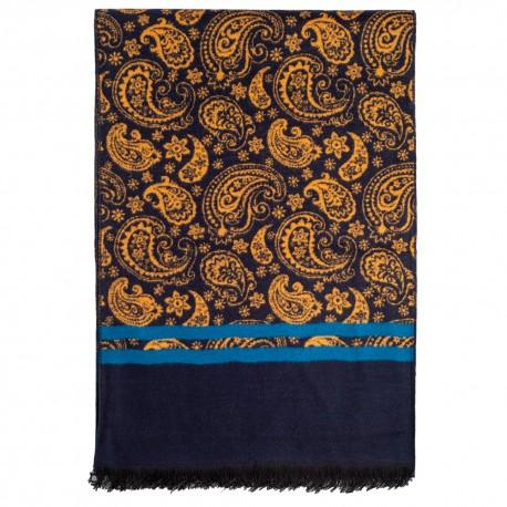 Tørklæde i børstet silke i blå og guld