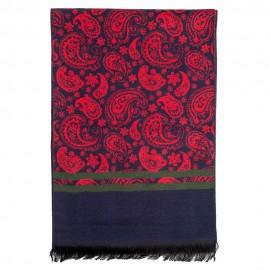 Tørklæde i børstet silke i rød og blå