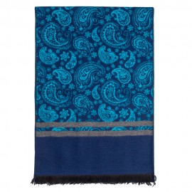 Tørklæde i børstet silke med blåt paisleymønster