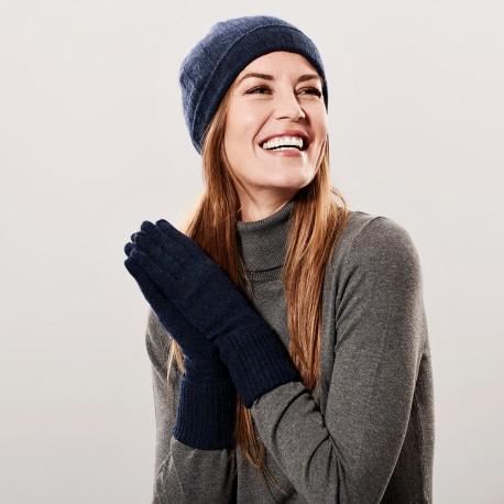 Marineblå cashmere beanie og handsker
