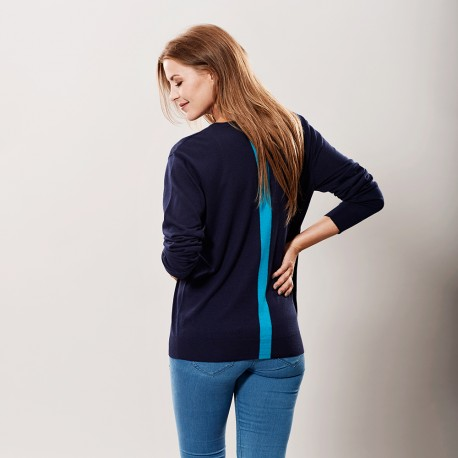 Marineblå silke/cashmere sweater med stribe