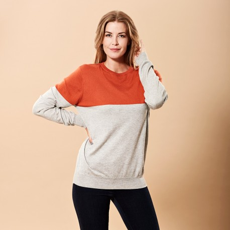 Silke/cashmere sweater i orange/lysegrå