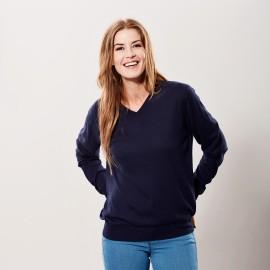 Marineblå bluse i silke/cashmere v-hals