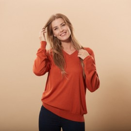 Orange bluse i silke/cashmere v-hals