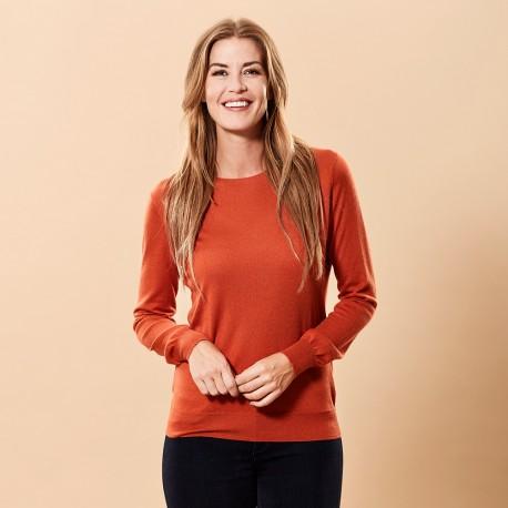 Orange bluse i silke/cashmere rund hals
