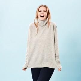 Oversize cashmere sweater i grå