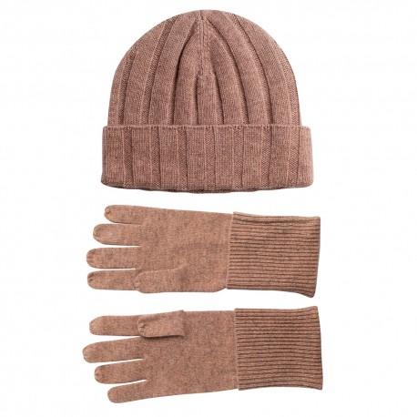 Beige cashmere beanie og handsker