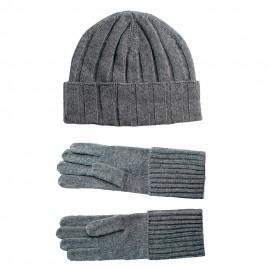 Grå cashmere beanie og handsker
