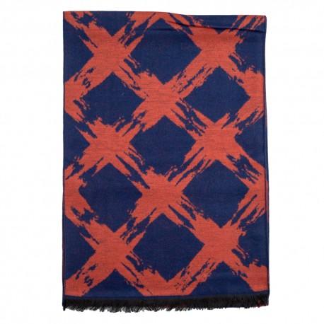 Tørklæde i børstet silke med orange/blåt mønster