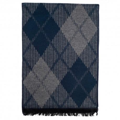 Tørklæde i børstet silke med blå harlekinmønster