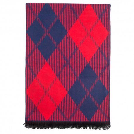 Tørklæde i børstet silke med rød/blå harlekinmønster