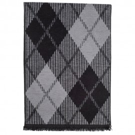 Tørklæde i børstet silke med grå/sort harlekinmønster