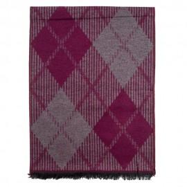 Tørklæde i børstet silke med rød/grå harlekinmønster