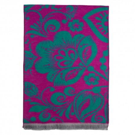 Tørklæde i børstet silke med violet/grønt mønster