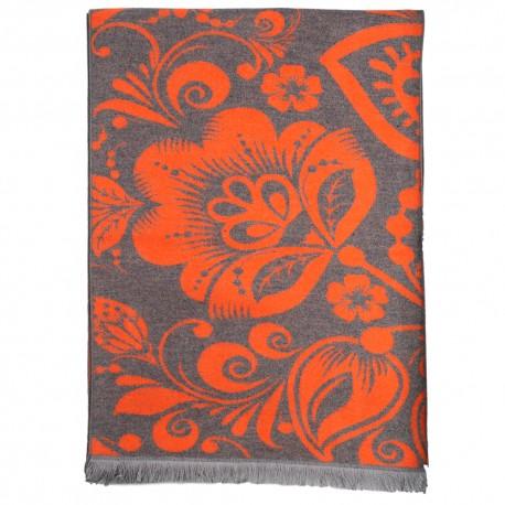 Tørklæde i børstet silke med grå/orange mønster