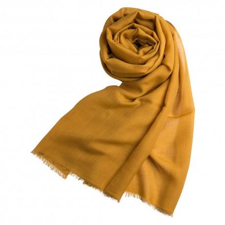 Mørk gyldent pashminasjal i cashmere og silke