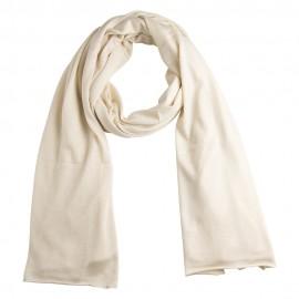Råhvidt sjal i silke/cashmere strik