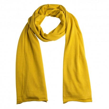 Gult sjal i silke/cashmere strik