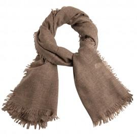 Cashmere tørklæde i naturbrun melange