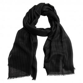 Stribet cashmere tørklæde i sort og antracit