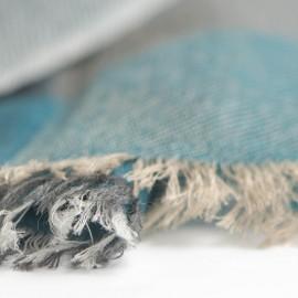Cashmere tørklæde i grøn, karamel, beige og grå