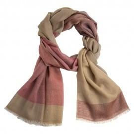 Ternet cashmere tørklæde i gylden og rød