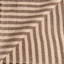 Stribet tørklæde i chokolade og cremefarve