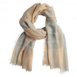 Lækkert skotskternet sjal i blå og beige