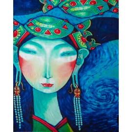 Cashmeresjal med print i turkis og blå nuancer