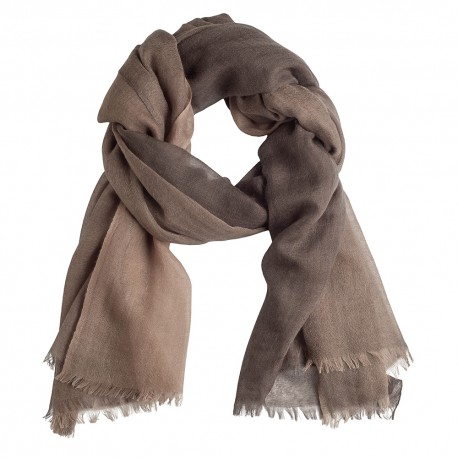 Storternet sjal i lys- og mørkebrun