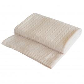 Råhvidt kabelstrikket cashmere tæppe