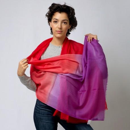 Tofarvet pashmina sjal i violet og rød