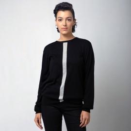 Sort silke/cashmere bluse med striber