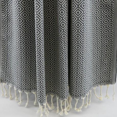 Mørkegråt hammam håndklæde i diamantmønster
