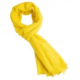 Håndvævet pashmina tørklæde i gul twill vævning