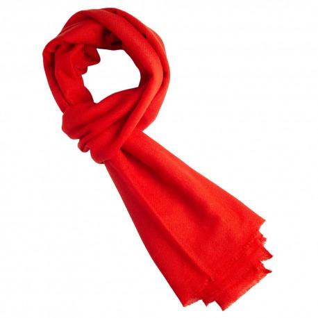 Cinnoberrødt cashmere tørklæde i twill vævning