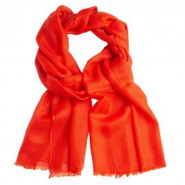 Koralrødt cashmere tørklæde i 2-ply cashmere