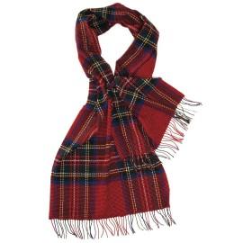 Stort rødt skotskternet halstørklæde