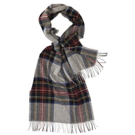 Stort gråt skotskternet halstørklæde