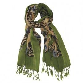 Grønt mønstret uldtørklæde