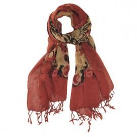 Rødt mønstret uldtørklæde