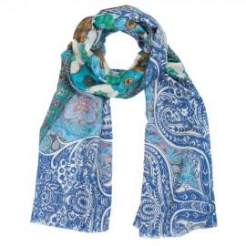 Blåt mønstret tørklæde i uld/silke