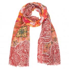 Rødt mønstret tørklæde i uld/silke