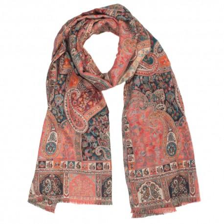 Rødt tørklæde i paisleymønster