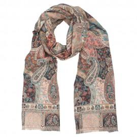 Grå/rosa tørklæde i paisleymønster