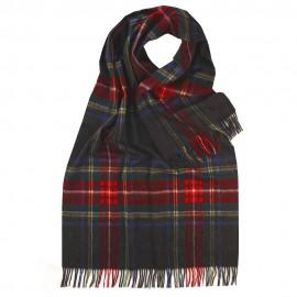 Oversize tørklæde i koksgrå/rød/blå skotsktern