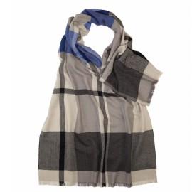 Dobbeltsidet tørklæde i blå/grå tern